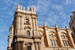 Wyszczególnia architekturę Hiszpański miasto Malaga Fotografia Stock