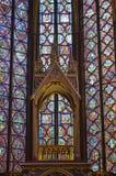 Wyszczególnia Pięknych witraży okno w wierzchu poziomie wewnętrzny Sainte-Chapelle Paryż Francja Fotografia Stock