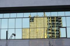 Wyszczególnia szklanego budynku tła miastowego fasadowego abstrakcjonistycznego reflectio Obrazy Stock
