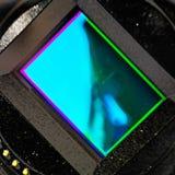 Wyszczególnia widok czujnik mirrorless kamera zdjęcie stock