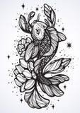 Wyszczególniająca piękna ilustracja Koja karpia ryba, symbol szczęście i obfitość, Pociągany ręcznie wektorowa grafika odizolowyw ilustracja wektor