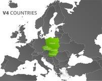 Wyszehradzka grupy V4 krajów mapa Obraz Royalty Free