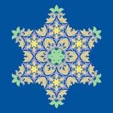 Wyszukany płatek śniegu projekta element na Princess błękit tle Kreskowej struktury minimalny wektorowy wystrój ilustracja wektor