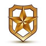 Wyszukany wektorowy blazon z złotym gwiazdowym emblematem, 3d ilustracja wektor