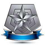 Wyszukany wektorowy emblemat z srebną glansowaną gwiazdą i błękitnym wav Fotografia Stock