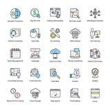 Wyszukiwarka i optymalizacja Mistrzowskie ikony ilustracja wektor