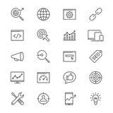 Wyszukiwarka optymalizacja cienkie ikony ilustracja wektor