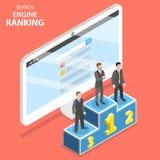Wyszukiwarka rankingu płaski isometric wektor royalty ilustracja