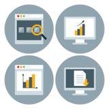 Wyszukiwarki strony internetowej okręgu ikony set Obrazy Stock