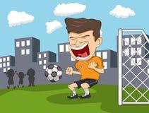 wyszukuje kreskówkę wyszczególniającą czuje swobodnie gracz inną piłkę nożną pracy Zdjęcie Stock