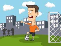 wyszukuje kreskówkę wyszczególniającą czuje swobodnie gracz inną piłkę nożną pracy Zdjęcia Stock