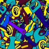 Wytłacza wzory bezszwowego wzór z mini doodles rysunkami Zdjęcia Royalty Free