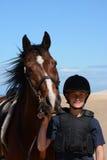 Wytrzymałość koń i jeźdza portret Zdjęcie Stock