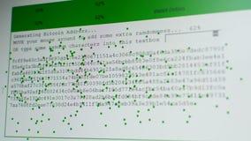 Wytwarzać Bitcoin adresu, intymnych i jawnych klucze, przypadkowo rusza się mysz kursor przez ekran zbiory