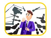 wywiad Głośnikowy mężczyzna tło mikrofonów prasy konferencja odizolowane white wiadomość Żywy raport, żywa wiadomość Wiele ręki d Zdjęcie Stock