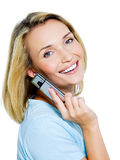 wywoławczego telefonu pomyślna kobieta Zdjęcia Royalty Free