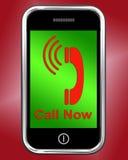 Wywoławczy Na telefonów przedstawieniach rozmowa lub gadka Teraz ilustracji