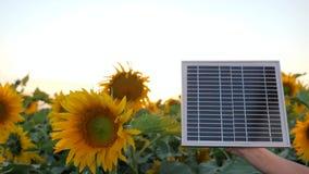 Wywołująca technologia, słoneczna bateria w ręce obok pola w zwolnionym tempie, ręki utrzymania panel słoneczny na tła błękicie zbiory wideo