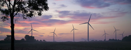 wywołujący władzy wschód słońca wiatraczki Zdjęcia Royalty Free