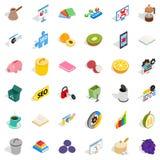 Wyznaczać zadanie ikony ustawiać, isometric styl royalty ilustracja