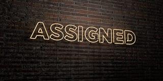 WYZNACZAJĄCY - Realistyczny Neonowy znak na ściana z cegieł tle - 3D odpłacający się królewskość bezpłatny akcyjny wizerunek ilustracja wektor