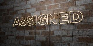 WYZNACZAJĄCY - Rozjarzony Neonowy znak na kamieniarki ścianie - 3D odpłacająca się królewskości bezpłatna akcyjna ilustracja ilustracja wektor
