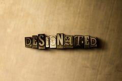 WYZNACZAJĄCY - zakończenie grungy rocznik typeset słowo na metalu tle ilustracja wektor