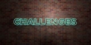 WYZWANIA - fluorescencyjny Neonowej tubki znak na brickwork - Frontowy widok - 3D odpłacający się królewskość bezpłatny akcyjny o ilustracji