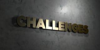 Wyzwania - Złocisty tekst na czarnym tle - 3D odpłacający się królewskość bezpłatny akcyjny obrazek royalty ilustracja