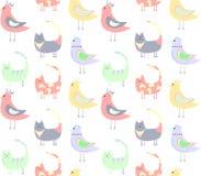 Wzór barwioni koty, ptaki na białym tle ilustracji