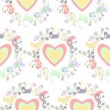 Wzór koty, ptaki, liście i flovers, barwioni serca royalty ilustracja