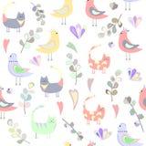 Wzór koty, ptaki, liście i serca, barwioni serca royalty ilustracja
