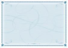 wzór świadectwa niebieski Obrazy Royalty Free