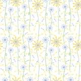 Wzór żółci i błękit kwiaty Fotografia Royalty Free