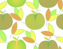 Wzór abstrakcjonistyczni jabłka i kolorowi liście Fotografia Stock