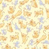 wzór bezszwowy kota myszy royalty ilustracja