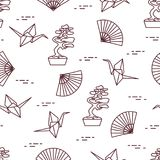 wzór Bonsai drzewa, origami żurawie, fan ilustracji