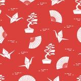 wzór Bonsai drzewa, origami żurawie, fan ilustracja wektor