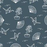 wzór Bonsai drzewa, origami żurawie, fan royalty ilustracja
