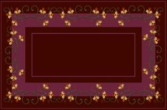 Wzór Burgundy cieni tablecloth z upiększonymi curlicues i gałąź, z pomarańczowymi kwiatami i wyginającymi się liśćmi ilustracji