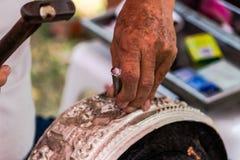 Wzór cyzelowania silverware i sztuka, Tajlandia Obraz Royalty Free