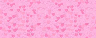 Wzór czerwieni i menchii serca Horizontally i pionowo bezszwowy tło odosobniony Zdjęcia Stock