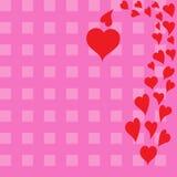 Wzór czerwoni serca na w kratkę tle Zdjęcie Stock