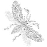 Wzór dla kolorystyki książki Henny Mehendi tatuażu stylu Doodles Zdjęcie Stock
