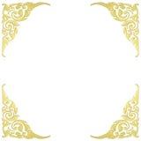 Wzór drewno rama rzeźbi kwiatu na białym tle Obraz Royalty Free