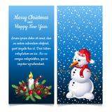 Wzór dwoista pionowo kartka bożonarodzeniowa z bałwanem i próbka tekstem również zwrócić corel ilustracji wektora ilustracja wektor