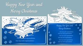 Wzór, gałąź z płatek śniegu i dzwon, Bożenarodzeniowy zaproszenie z płatek śniegu i Bożenarodzeniową zabawką wektor truizm wesoło ilustracja wektor