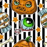 Wzór Halloween elementu łaty: bania, czaszka, pająk, Szlamowy, kot, nietoperz, kość Obrazy Stock