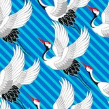 wzór japońskiego Żurawi latać Ornament z orientalnymi motywami wektor ilustracja wektor