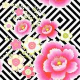 wzór japońskiego Czereśniowy okwitnięcie Ornament z orientalnymi motywami wektor royalty ilustracja
